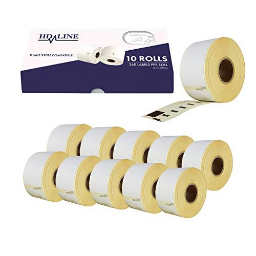 Dymo Etiketten für Labelwriter 99012 - 10 Rolle Pack Etiketten x 260 St. Je Rolle = 2600 Etikette, Selbstklebend, Kompatibel für Dymo Labelwriter & Seiko Etikettendrucker, 89 X 36 mm