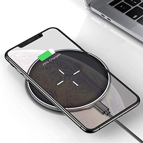 VANMASS Wireless Charger 10W Blitzschnelles Induktions Ladegerät, Qi-Zertifizierte Ladestation für iPhone XS/XS Max/XR/X/8 Plus/8, Samsung Galaxy Note 10/S10/S10+/Note 9/S9/S8, Huawei Mate 20 Pro usw.