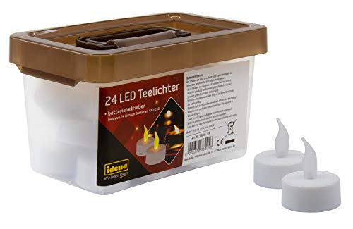 Idena 24 velas eléctricas LED en caja de plástico con luz parpadeante,...