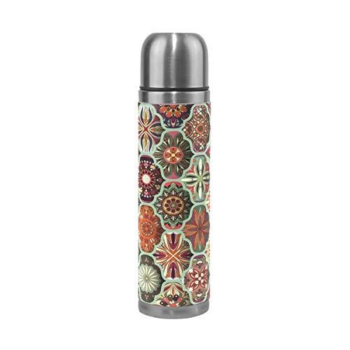 Mnsruu Bouteille d'eau à double paroi en acier inoxydable avec motif sans couture et mandala pour voyage en plein air