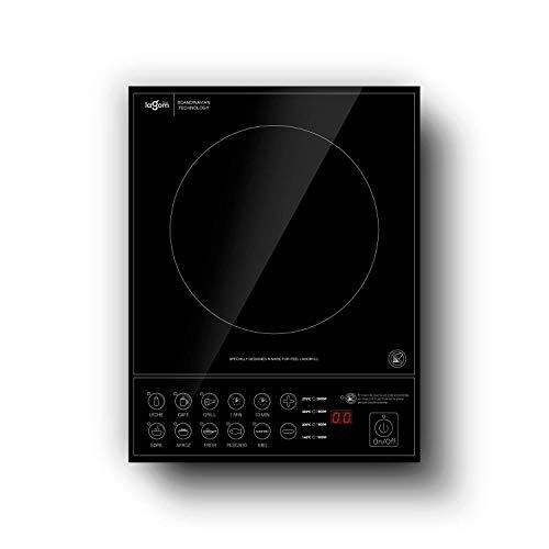 Self Ideas - Placa de inducción portátil. 10 niveles de temperatura. 2000W de potencia. vitrocerámica portátil con temporizador digital: hasta 180 min y desconexión automática. (sartén de hasta 20 CM)