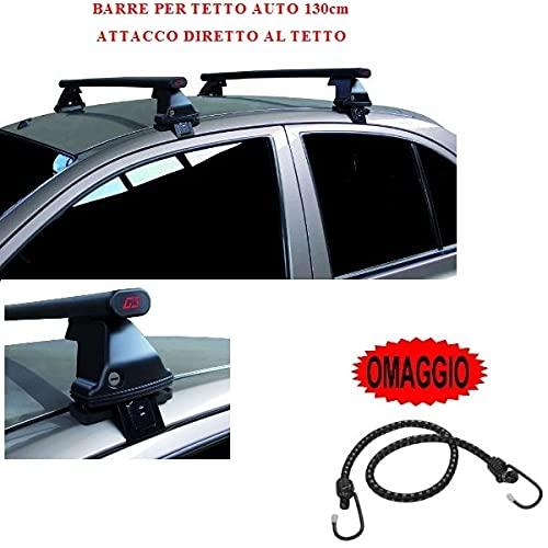 Compatible con Renault Clio III 5p 2005 (68.001) Barras Rack DE Techo para Coche Barra DE 130CM para Coches con Accesorio Directo AL Techo SIN BARANDA Rack DE Techo Acero Negro