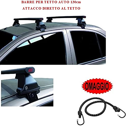 Compatible con Toyota Corolla Verso 5p 2009 (68.008) Barras Rack DE Techo para Coche Barra DE 130CM para Coches con Accesorio Directo AL Techo SIN BARANDA Rack DE Techo Acero Negro