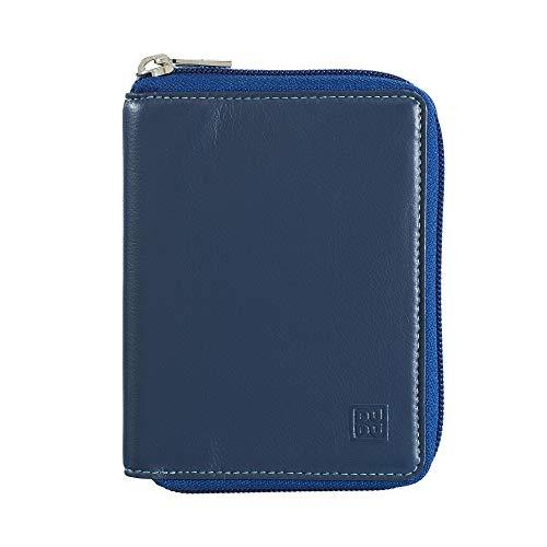 DUDU Herren Portemonnaie mit Rundum-Reissverschluss aussen aus echtem Nappaleder Multicolor mit Münzfach Blau