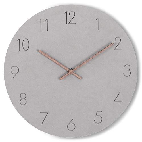 WONEA - Wanduhr in Betonoptik aus Holz mit lautlosem Quarzuhrwerk, analog grau ohne Tick Geräusche, lautlose Wanduhr Quarz Uhrwerk ohne Sekundenzeiger, modern Ziffernblatt Betonoptik, Durchmesser 29cm