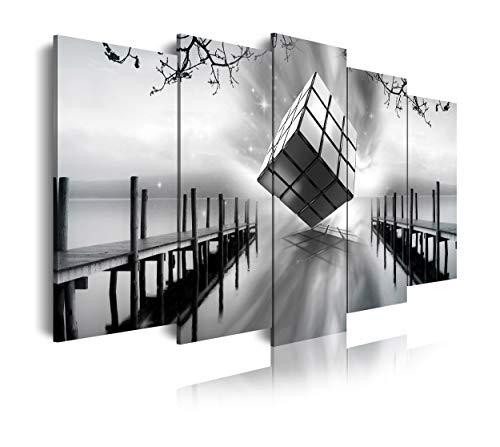 DekoArte - Cuadros Modernos Impresión de Imagen Artística Digitalizada | Lienzo Decorativo Para Tu Salón o Dormitorio | Estilo Paisaje Embarcader Blanco Negro Cubo Rubik | 5 Piezas 150 x 80 cm