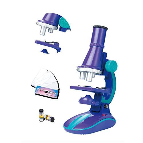 ZYMSD Kinder-Mikroskop-Set, 100x 200x 450x Mikroskop Kit/Wissenschaft Spielzeug mit LED-Licht für Early Education Geburtstags-Geschenk (8-14 Jahre),Lila