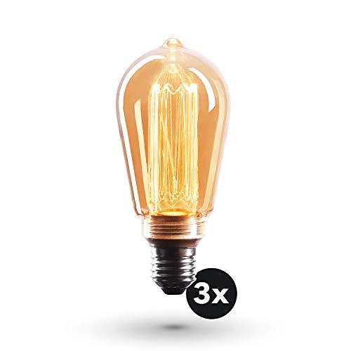 CROWN LED Edison Illusion Filament Glühbirne E27 Fassung, Dimmbar, 3,5W, 1800K, Warmweiß, 230V, EL24, Antike Filament Beleuchtung im Retro Vintage Look