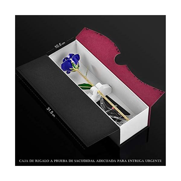 Flor Rosa Real de Oro de 24K, Resina preservada y Rosas bañadas en Oro – Regalo para Ella en el día de San Valentín, Día…