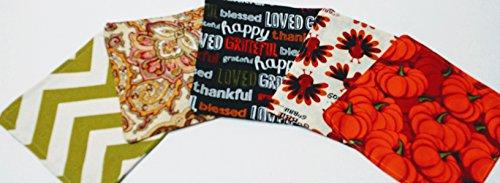 "Thanksgiving Cloth Napkins, Set of 5 Cloth Napkins, 6"" Kids Lunch Napkins, Holiday Cloth Napkins, Cloth Wedding Napkins, Reusable Linens"