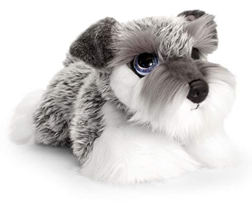 Lashuma Keel Toys Plüschtier Hund Schnauzer, Stofftier Hündchen Liegend 32 cm, Kuscheltier Welpe Grau Weiß