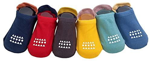 Juego de 6 pares de calcetines antideslizantes para yoga y tobilleras de algodón para bebé y niña