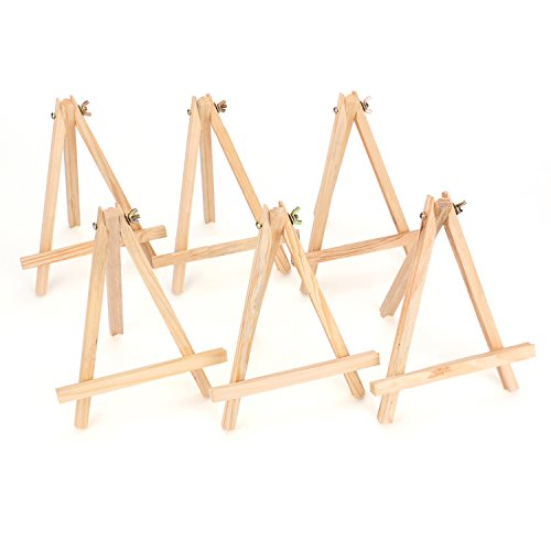 Tosnail 9' Tall Natural Pine Wood Tripod Easel Photo Painting Display Portable Tripod Holder Stand, 6 Pack