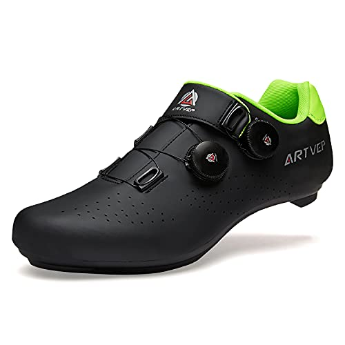 Zapatillas de Ciclismo para Hombre Zapatillas de Bicicleta de Carretera para Mujer compatibles con Look SPD SPD-SL Delta Cleats Zapatillas de Spinning para Interiores Exteriores Negro270