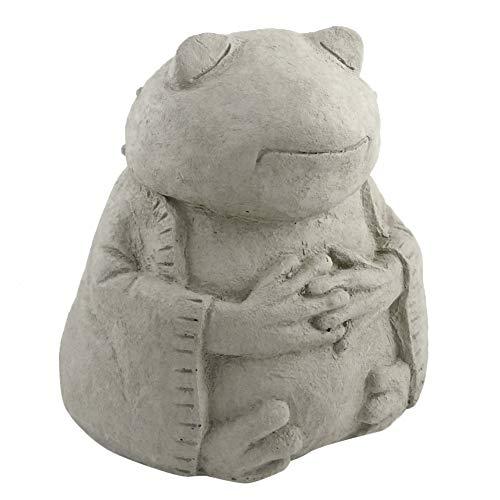 Meditating Frog - Cast Stone Garden Sculpture : large size, grey stone finish