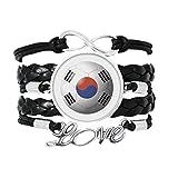 韓国の国旗のサッカー・ワールドカップ 愛のアクセサリーツイストレザーニットロープリストバンド編み