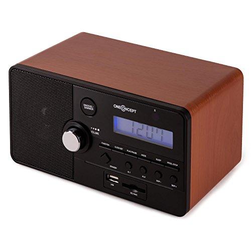 oneConcept Luzern Radio Despertador - Alarma Dual , Almacena hasta 30 emisoras , Puerto USB SD , AUX , Programable , Control Remoto , Diseño Retro , Marrón