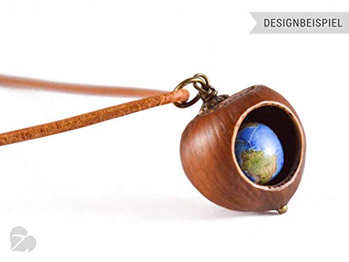 Holzschmuck Haselnuss Kette mit Perle – Reise Weltkugel Leder