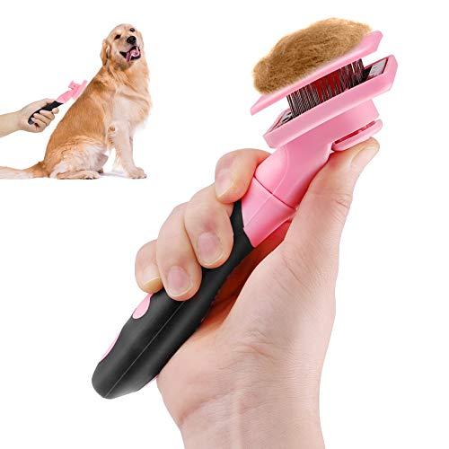 Makerifre Spazzola per Cani Gatti,Cardatore per Cane Gatto Rastrello Toelettatura Pettine Professionale Auto-Pulizia Pelo Lungo-Rosa