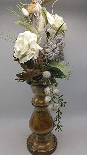 Blumengesteck Gesteck Herbstgesteck Herbstdeko Rosen Mohn Gräser Vase weiß