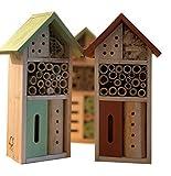 Hôtel à insectes pour terrasse, balcon ou jardin, à suspendre, non traité, en bois véritable, résistant aux intempéries, anti-nuisibles naturel, couleurs : rouge vert 26 x 8,5 x 13,5 cm