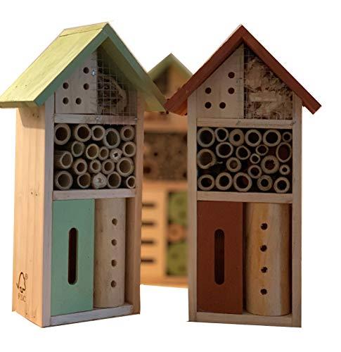 ZDTrading Insektenhotel, Insektenhaus für Terrasse, Balkon, oder Garten, zum Aufhängen, unbehandelt, naturbelassen, aus Echtholz, wetterfest, natürlicher Schädlingsbekämpfer, 26x8,5x13,5cm