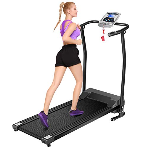Mauccau Folding Treadmill for Home, Electric Treadmills with LCD Display Exercise Fitness Trainer Walking Running Machine (Black)