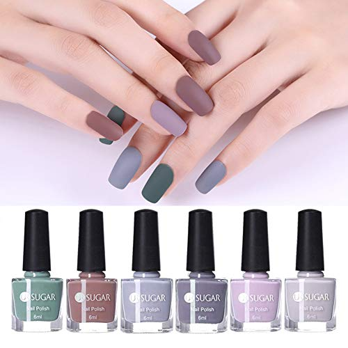 UR SUGAR 6ml Matt Nagellack Set, Maniküre Matte Nail Art Lacquer Varnish Polish Nackte Farbe 6pcs Kit Herbst und Winter Kollektion