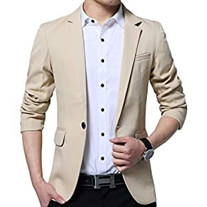 ODFMCE ジャケット メンズ スーツ 春秋 テーラードジャケット カジュアル ビジネス スリム 大きいサイズ (カーキ, M)