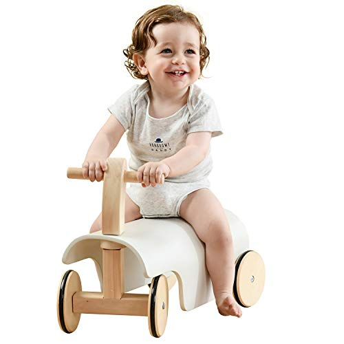 labebe Baby Ride-On Wooden Toys with Wheels, Riding Toy Balance Car White for Toddler 1 Year Old & Up, Wood Push Walker Kids Strollers Boy/Girl