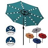 Blissun 9 ft Solar Umbrella 32 LED Lighted Patio Umbrella Table Market Umbrella with Tilt and Crank Outdoor Umbrella for Garden, Deck, Backyard, Pool and Beach (Cerulean)