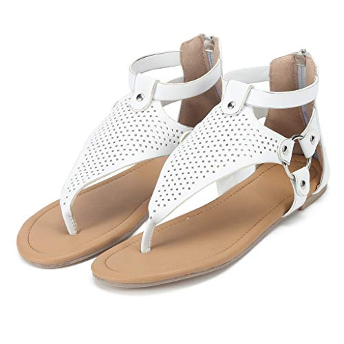Claystyle Women's Sandals Open Toe Wedge Platform Strap Casual Flatform Casual Rome Solid Hollow Out Open Toe Zipper Sandals White