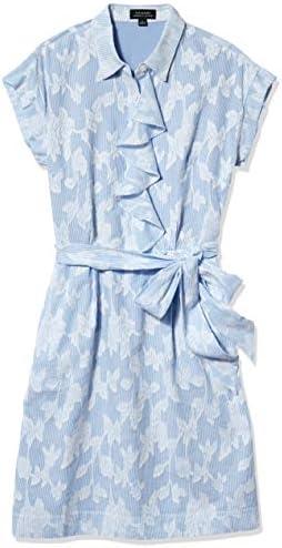 Tahari ASL Women s Short Sleeve Collared Ruffled Shirt Dress Blue Stripe Floral 14 product image