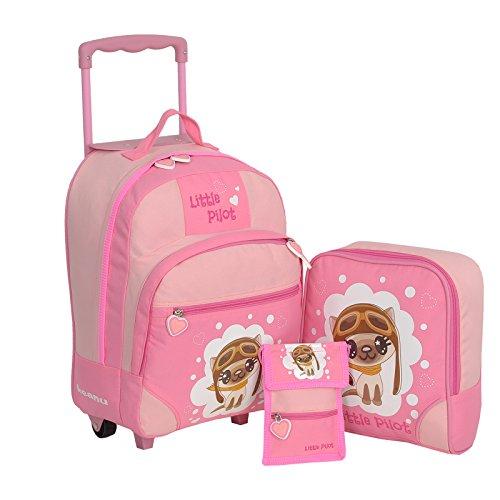 KEANU Keanu Kindertrolley 3er Set Reisegepäck stabil, höhenverstellbarem Griff, Reißverschlussfach, Reisekoffer Rucksack Brustbeutel (Pink - Little Pilot)