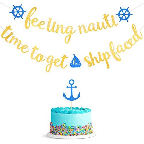 2 Stücke Schiff Konfrontiert Banner Glitter Nautisch Hängend Banner mit Glitter Anker Kuchen Topper für Nautisch Seemann Thema Geburtstag Bachelorette Party Dekoration