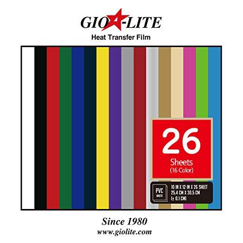 "Iron-On Heat Transfer Vinyl HTV Assorted Colors Bundle 10/"" x 12/"" 26 Sheets DIY"