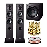 Sony SSCS3 3-Way Floor-Standing Speakers (Pair, 2 Speakers) Bundled SACS9 10-Inch Active Subwoofer (Black) Plus 100 feet of Speaker Wire and 5 Pairs of Banana Plugs (5 Items)