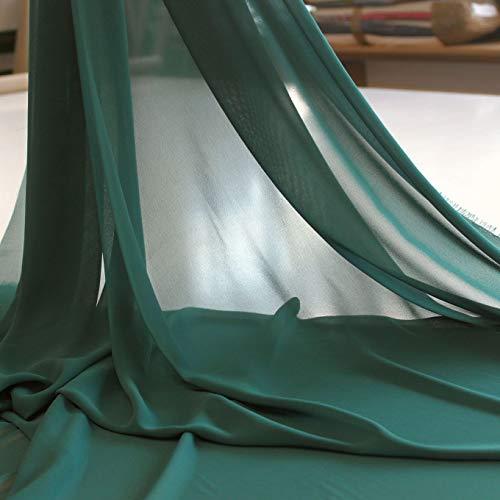 TOLKO Chiffon Stoff als zarter Modestoff   Dekostoff zum Nähen und Dekorieren   Halb transparent, knitterarm   Meterware (Dunkel Grün)