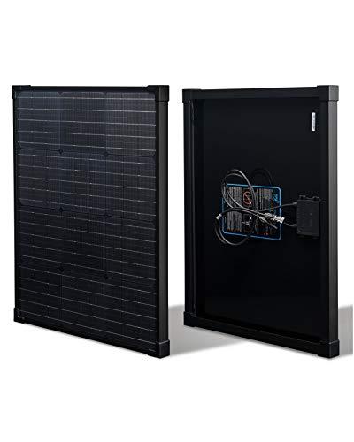 nrgGo 50 Watt Solar Panel Monocrystalline | All Black High Efficiency 50 W Solar Panel 12V | Lightweight Portable Solar Panels for RV, Homes, Boat | 12V Solar Panel 50W RV Solar Panels for Homes