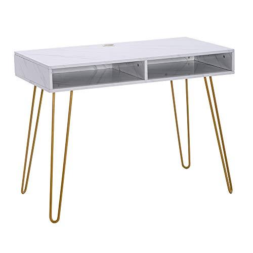JIESD-Z Computer-Schreibtisch mit 2 Schubladen, weißer Marmor-Aufkleber, MDF-Tischplatte, Heimbürotisch mit goldenen...