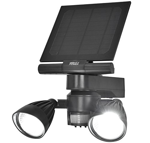 Solar Motion LED Security Flood Light by Mighty Power, Weatherproof, Ultra Bright 600 Lumens of Light, Perfect for Detecting Movement, Illuminating Outdoor Walkways, Patios, Grey, 9x7.5X 5.25 Inches