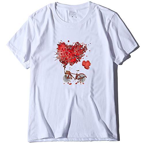 WELCO - Camiseta de manga corta para mujer, talla grande, informal, para parejas, San Valentn Blanc7 L