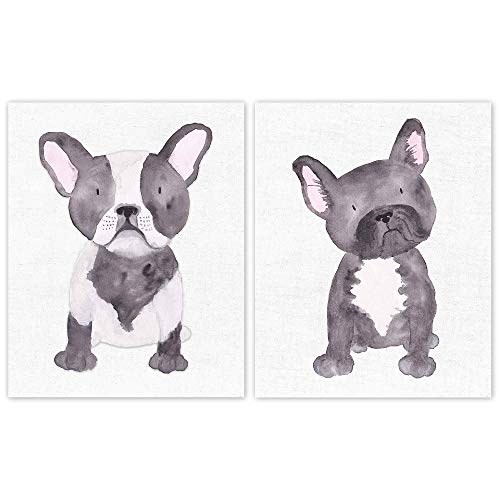 French Bulldog Black & White Watercolor Art Poster Prints, Set of 2 (8x10) Unframed Pictures, Great Wall Art Decor Gifts Under 15 for Home, Office, Shop, Man Cave, Studio, Salon, Student, Teacher, Fan