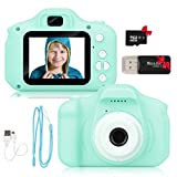 Kids Camera for Boys and Girls UPGRADE 13MP Digital Selfie Camera 1080P IPS 2 Inch HD Screen Photos & Video Camcorders Rechargeable for Kids Aged 3 Year and Up Toy Birthday Gifts (Green)