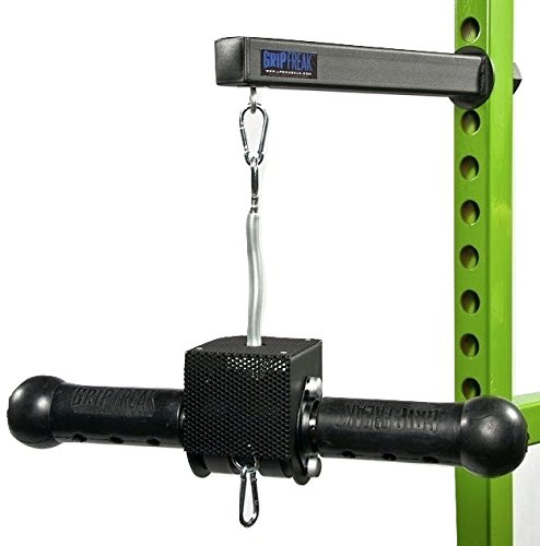 Grip Freak Thick Grip Wrist Roller w Power Rack Arm & Weight Plate Loader
