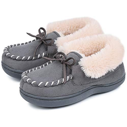 MERRIMAC Jongens en meisjes Dinghy Memory Foam Moccasin Slippers met Fuzzy en Warm Sherpa voering