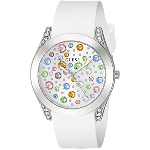 GUESS Women's Analog Japanese Quartz Watch with Silicone Strap U1059L1