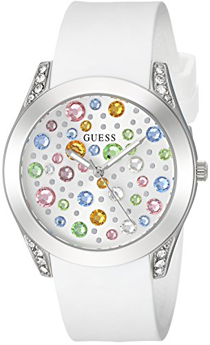 Guess Women's Stainless Steel Silicone Colored Stones Watch, Color White/Silver-Tone (Model: U1059L1)