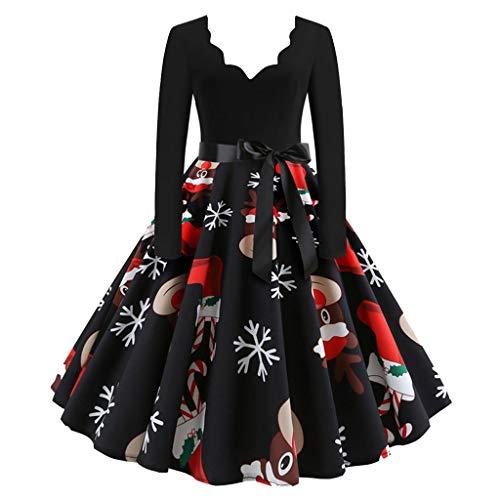 TIFIY Damen Weihnachtskleid Frauen Langarm V-Ausschnitt Weihnachten Musical Notes Print Vintage Flare Kleid Party Kleid Stylisch Jeden Tag Neuheit Interessant Kleid Schwarz XXXL