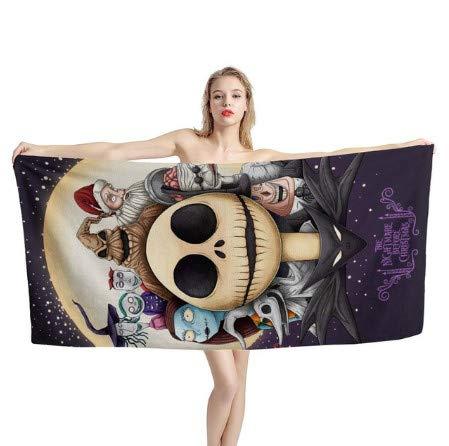 chinawh Toalla de baño Suave de algodón con Estampado de Pesadilla Antes de Navidad para Hombres y Mujeres, Toallas de Playa Deportivas, Toalla de Ducha, tamaño 70X140cm